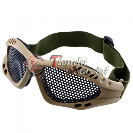Gafas Airsoft en malla metal - Coyote